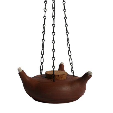 Lampe à huile à 3 feux en argile