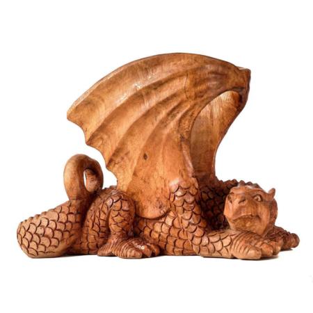 Porte – corne à boire en bois - endormie dragon