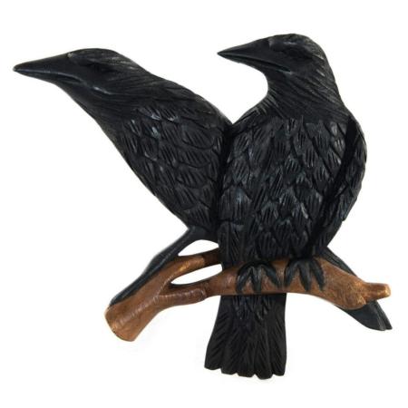 Relief mural en bois - corbeaux
